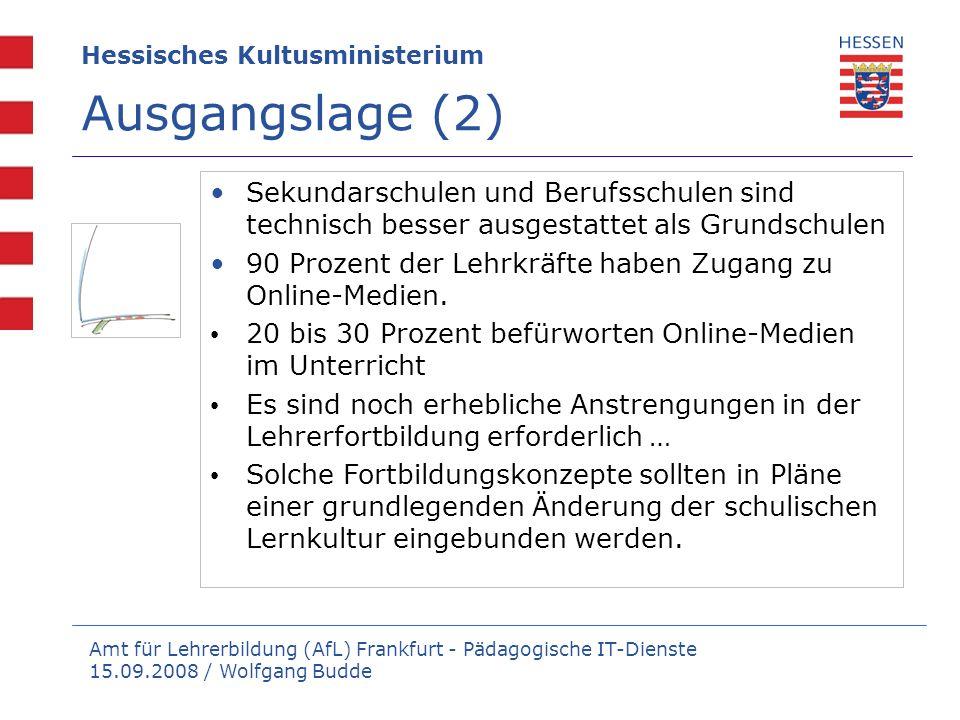 Amt für Lehrerbildung (AfL) Frankfurt - Pädagogische IT-Dienste 15.09.2008 / Wolfgang Budde Hessisches Kultusministerium Ausgangslage (3) Nur sehr wenigeder Lehrkräfte begrüßt die neuen Formen des Web 2.0 , in denen Nutzerinnen und Nutzer an den Inhalten des Web mitarbeiten.
