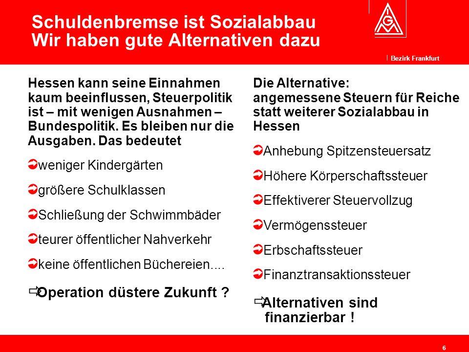 Bezirk Frankfurt 6 Schuldenbremse ist Sozialabbau Wir haben gute Alternativen dazu Hessen kann seine Einnahmen kaum beeinflussen, Steuerpolitik ist –