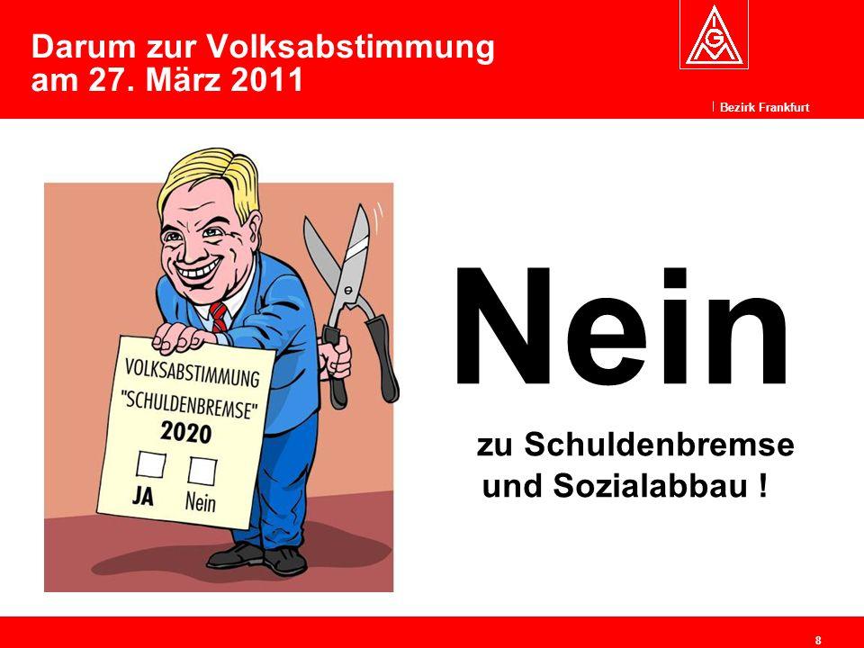 Bezirk Frankfurt 8 Darum zur Volksabstimmung am 27. März 2011 Nein zu Schuldenbremse und Sozialabbau !