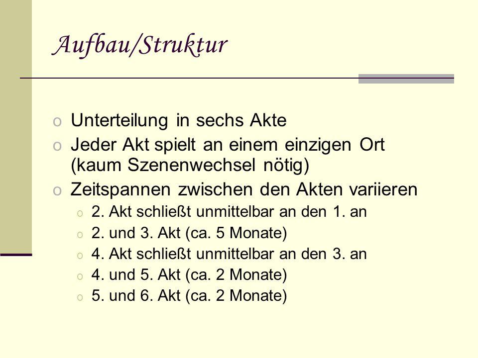 Aufbau/Struktur o Unterteilung in sechs Akte o Jeder Akt spielt an einem einzigen Ort (kaum Szenenwechsel nötig) o Zeitspannen zwischen den Akten variieren o 2.