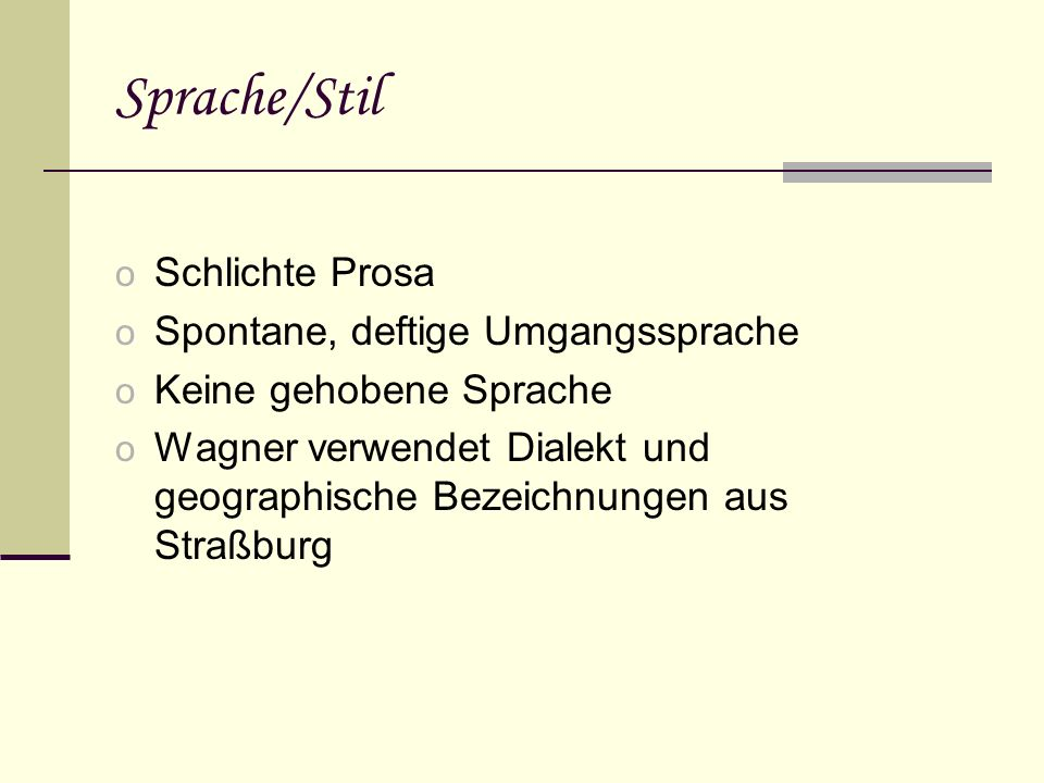 Textbeispiel zu Sprache & Stil o 1.Fausthammer: Gott lob.