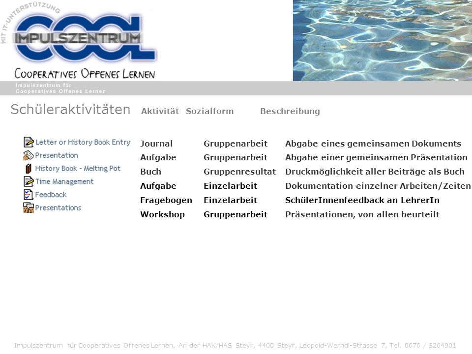 Impulszentrum für Cooperatives Offenes Lernen, An der HAK/HAS Steyr, 4400 Steyr, Leopold-Werndl-Strasse 7, Tel. 0676 / 5264901 Schüleraktivitäten Akti