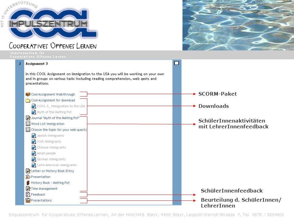 Impulszentrum für Cooperatives Offenes Lernen, An der HAK/HAS Steyr, 4400 Steyr, Leopold-Werndl-Strasse 7, Tel. 0676 / 5264901 SCORM-Paket Downloads S