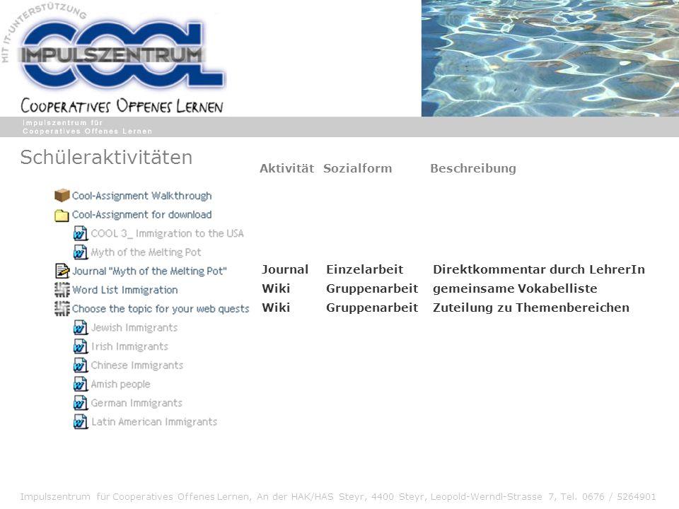 Impulszentrum für Cooperatives Offenes Lernen, An der HAK/HAS Steyr, 4400 Steyr, Leopold-Werndl-Strasse 7, Tel. 0676 / 5264901 Schüleraktivitäten Jour