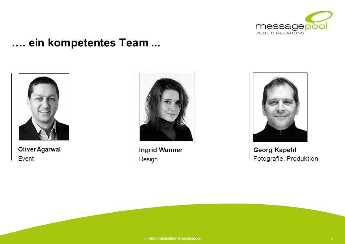 Firmenpräsentation messagepool3 …. ein kompetentes Team... Oliver Agarwal Event Ingrid Wanner Design Georg Kapehl Fotografie, Produktion