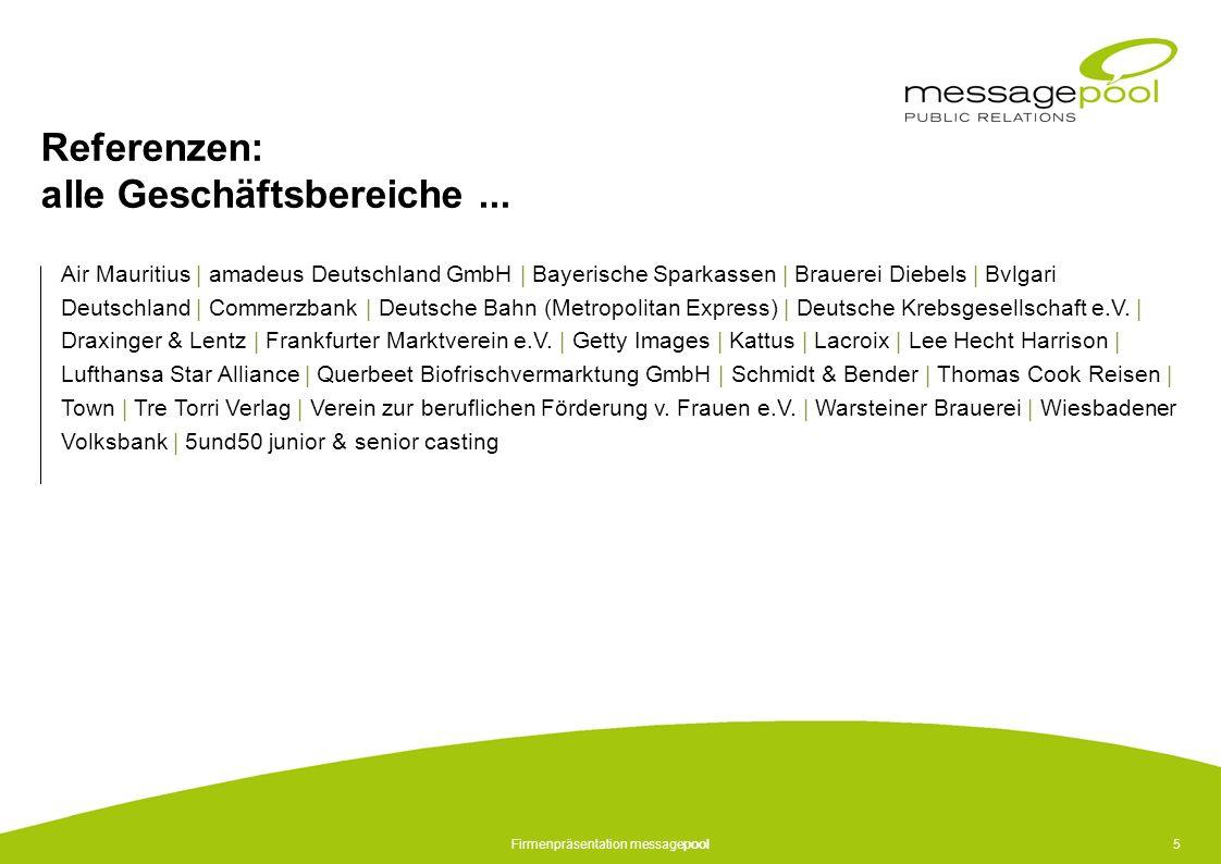 Firmenpräsentation messagepool5 Referenzen: alle Geschäftsbereiche... Air Mauritius | amadeus Deutschland GmbH | Bayerische Sparkassen | Brauerei Dieb