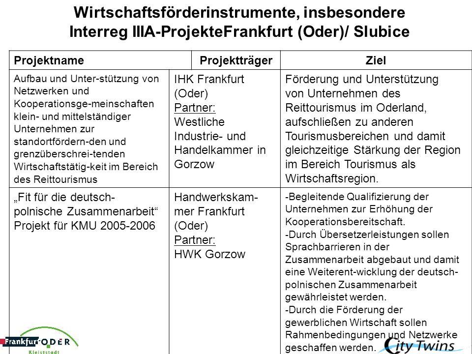 Wirtschaftsförderinstrumente, insbesondere Interreg IIIA-ProjekteFrankfurt (Oder)/ Slubice ProjektnameProjektträgerZiel Aufbau und Unter-stützung von