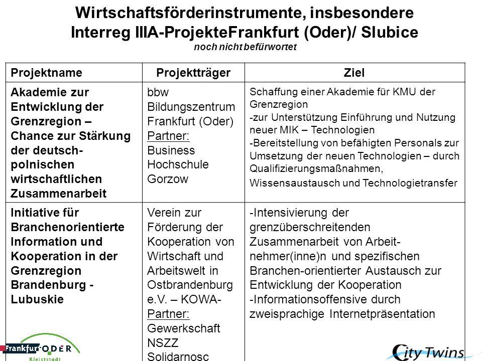 Wirtschaftsförderinstrumente, insbesondere Interreg IIIA-ProjekteFrankfurt (Oder)/ Slubice noch nicht befürwortet ProjektnameProjektträgerZiel Akademi