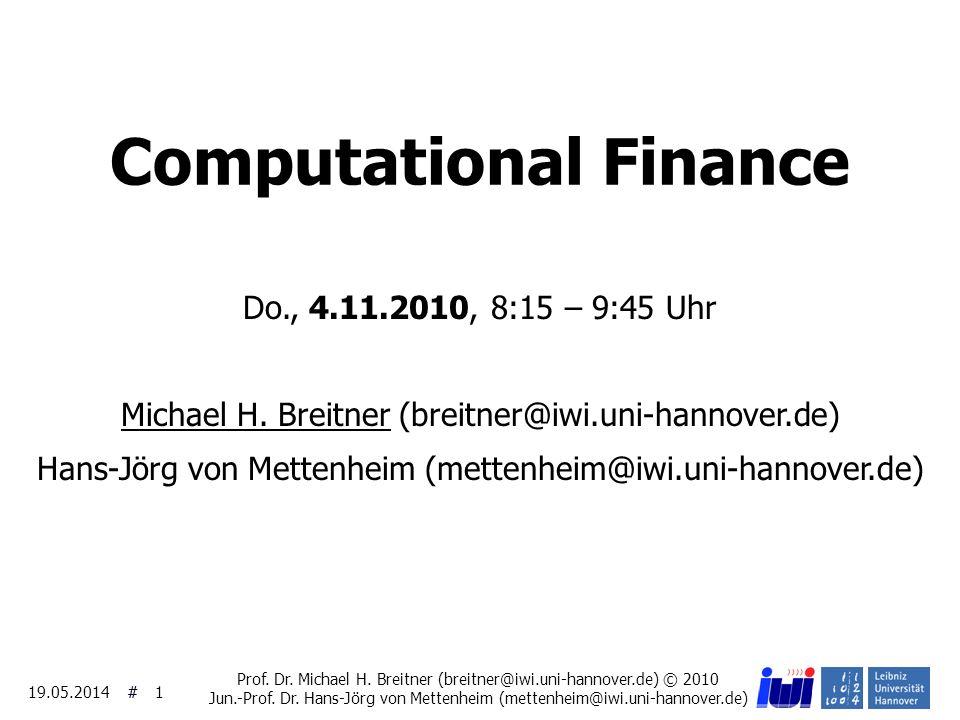 ## 19.05.2014 2 Beispiel: Beobachtete Marktpreise für Optionen Eigenes Projekt mit Frank Köller und mit Dresdner K.