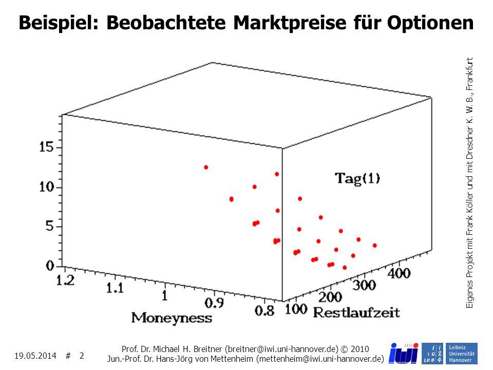 ## 19.05.2014 2 Beispiel: Beobachtete Marktpreise für Optionen Eigenes Projekt mit Frank Köller und mit Dresdner K. W. B., Frankfurt Prof. Dr. Michael