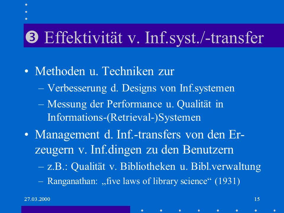 27.03.200015 Effektivität v.Inf.syst./-transfer Methoden u.