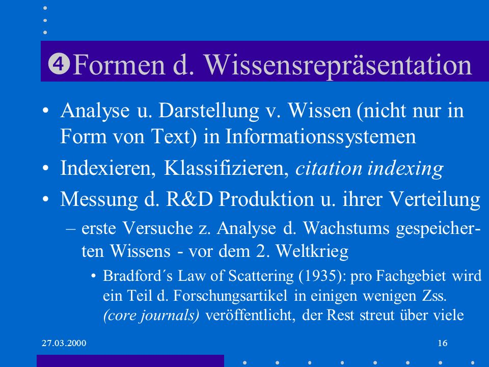 27.03.200016 Formen d.Wissensrepräsentation Analyse u.