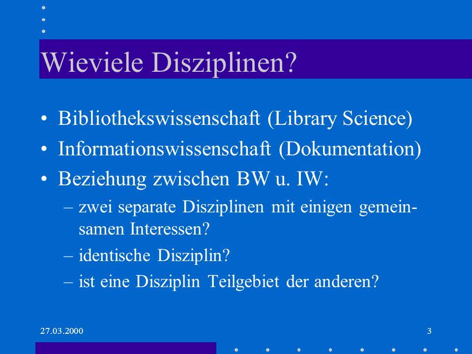 27.03.20004 Historisches BW entstand lange vor IW –Martin Schrettinger, München 1828Bibliotheks-Wissenschaft Summe aller theoret.