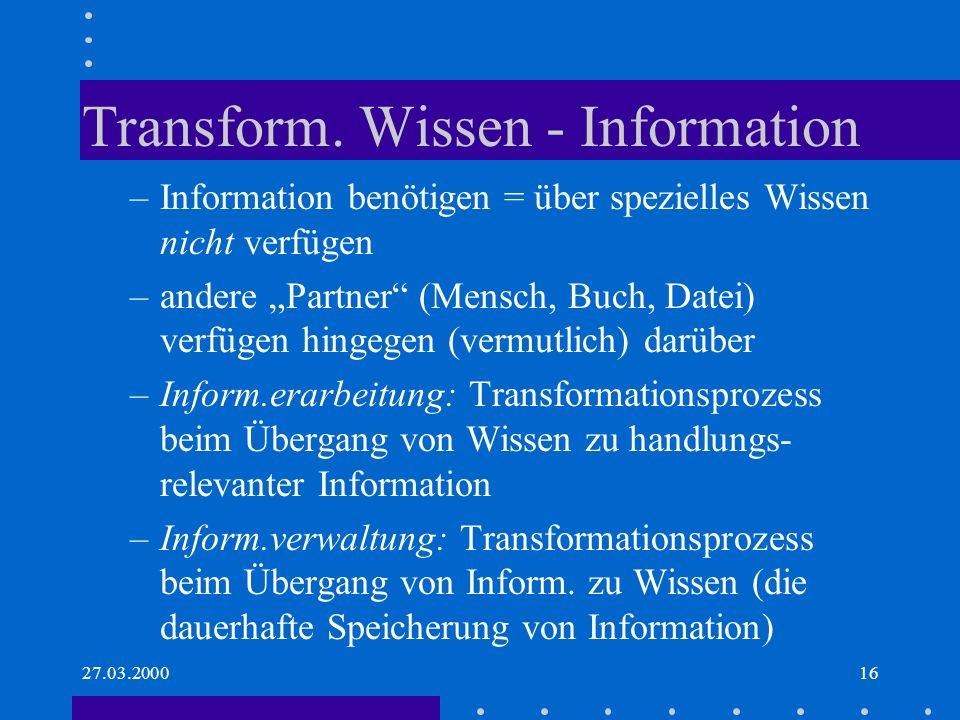27.03.200016 Transform. Wissen - Information –Information benötigen = über spezielles Wissen nicht verfügen –andere Partner (Mensch, Buch, Datei) verf