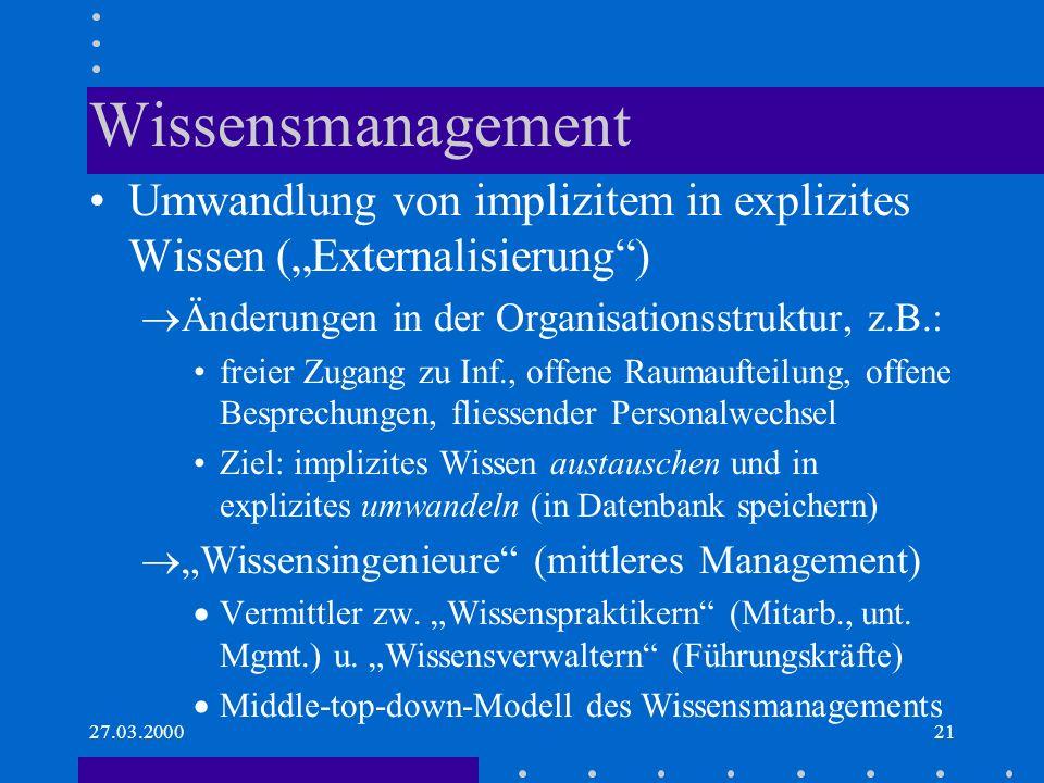 27.03.200021 Wissensmanagement Umwandlung von implizitem in explizites Wissen (Externalisierung) Änderungen in der Organisationsstruktur, z.B.: freier