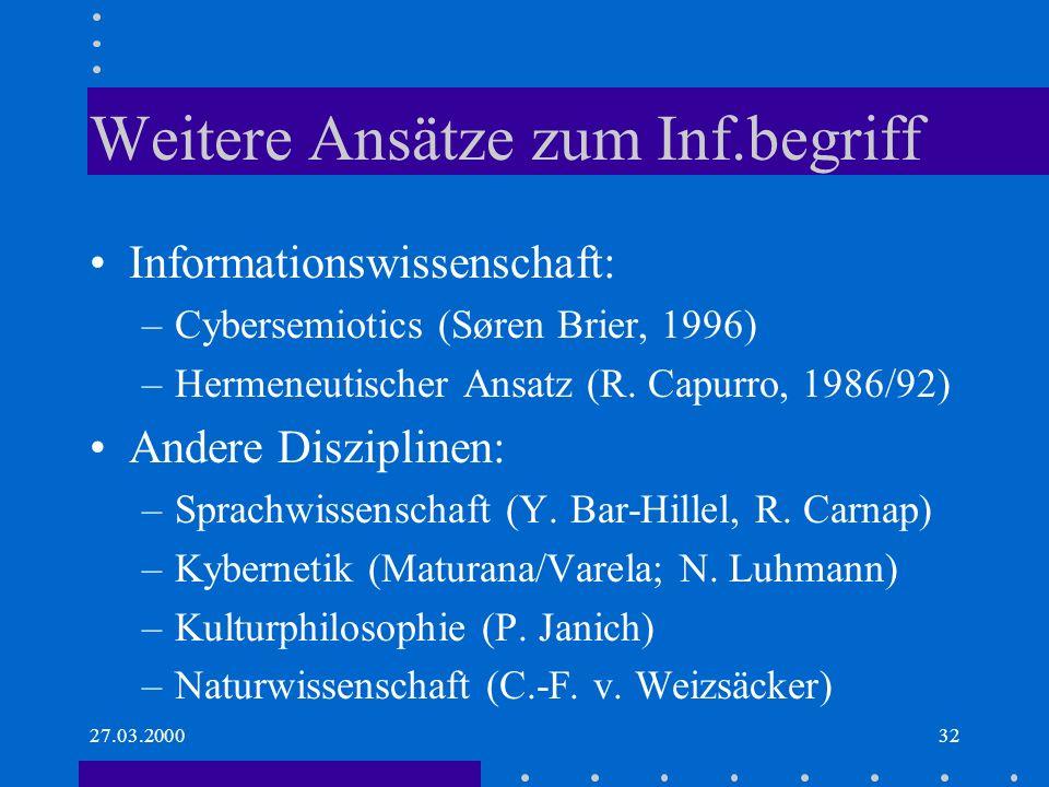 27.03.200032 Weitere Ansätze zum Inf.begriff Informationswissenschaft: –Cybersemiotics (Søren Brier, 1996) –Hermeneutischer Ansatz (R. Capurro, 1986/9