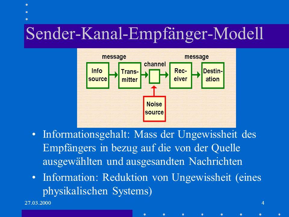 27.03.20004 Sender-Kanal-Empfänger-Modell Informationsgehalt: Mass der Ungewissheit des Empfängers in bezug auf die von der Quelle ausgewählten und au