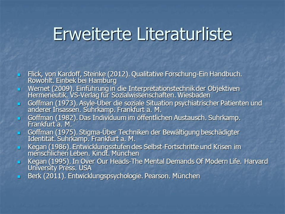 Erweiterte Literaturliste Flick, von Kardoff, Steinke (2012). Qualitative Forschung-Ein Handbuch. Rowohlt. Einbek bei Hamburg Flick, von Kardoff, Stei