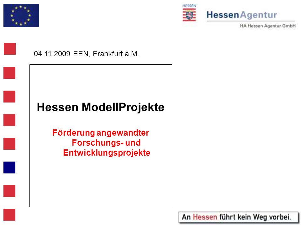 Hessen ModellProjekte Förderung angewandter Forschungs- und Entwicklungsprojekte 04.11.2009 EEN, Frankfurt a.M.