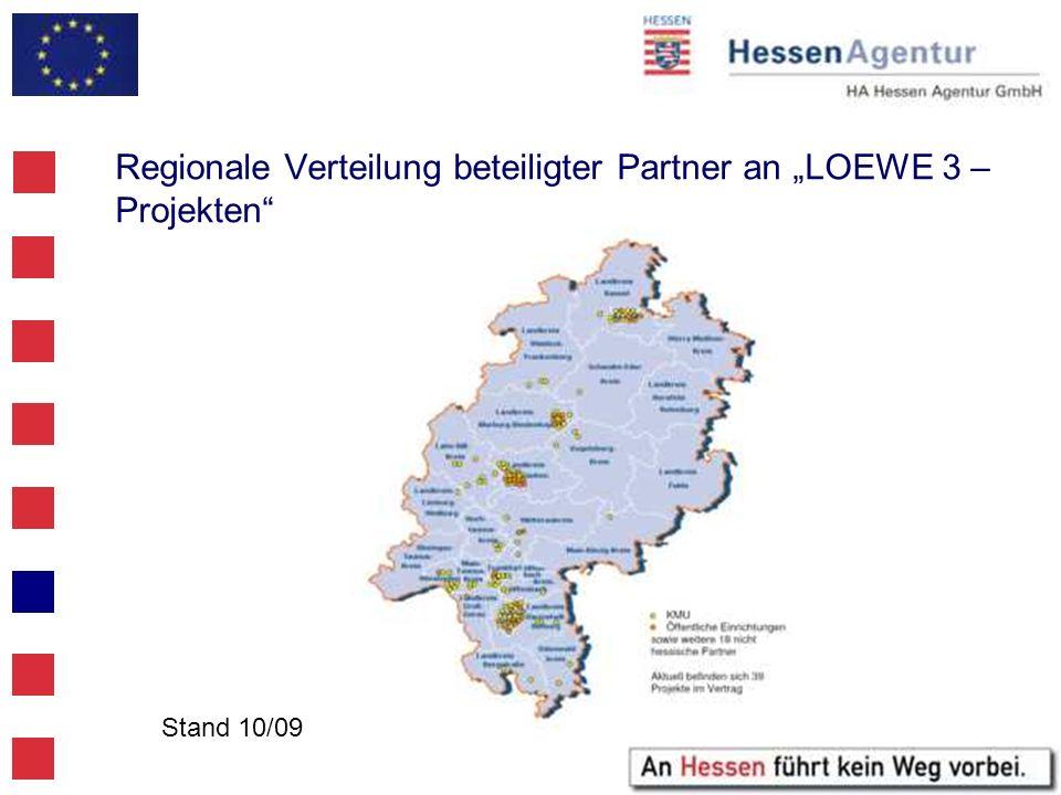 Regionale Verteilung beteiligter Partner an LOEWE 3 – Projekten Stand 10/09