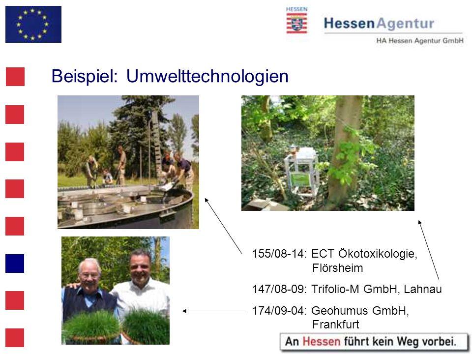 Beispiel: Umwelttechnologien 155/08-14: ECT Ökotoxikologie, Flörsheim 147/08-09: Trifolio-M GmbH, Lahnau 174/09-04: Geohumus GmbH, Frankfurt