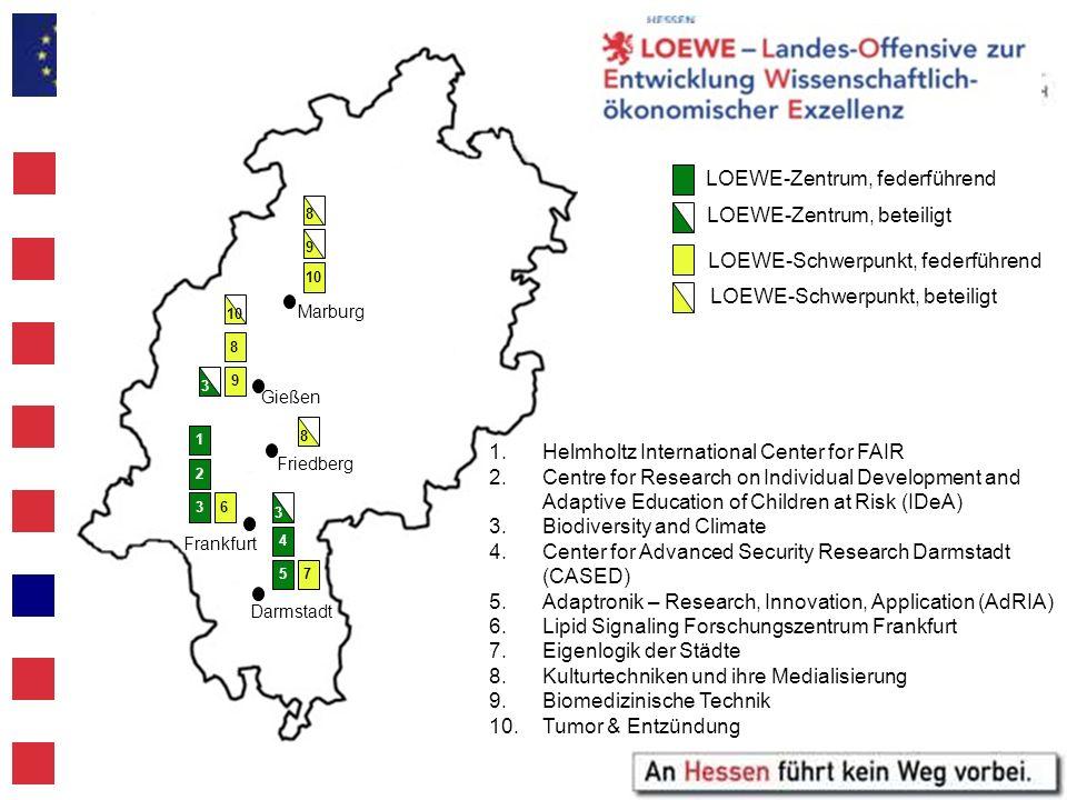 LOEWE-Zentrum, federführend LOEWE-Zentrum, beteiligt LOEWE-Schwerpunkt, federführend LOEWE-Schwerpunkt, beteiligt 1.Helmholtz International Center for
