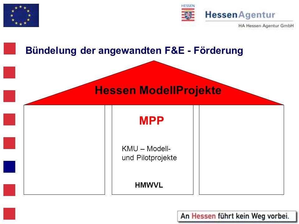 Bündelung der angewandten F&E - Förderung MPP KMU – Modell- und Pilotprojekte HMWVL Hessen ModellProjekte