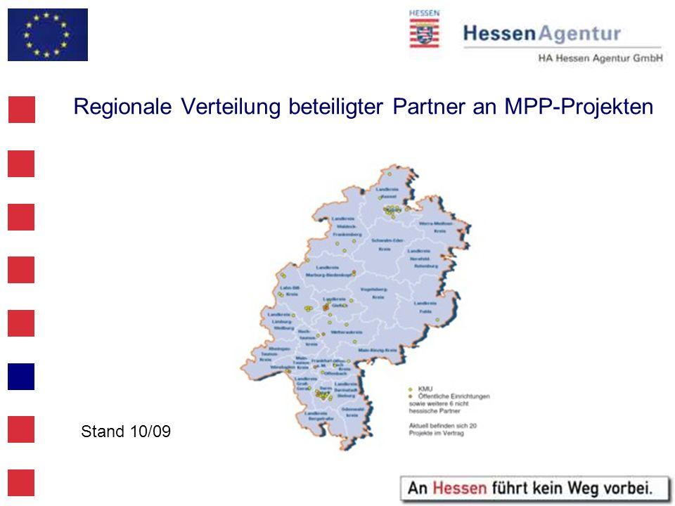 Regionale Verteilung beteiligter Partner an MPP-Projekten Stand 10/09