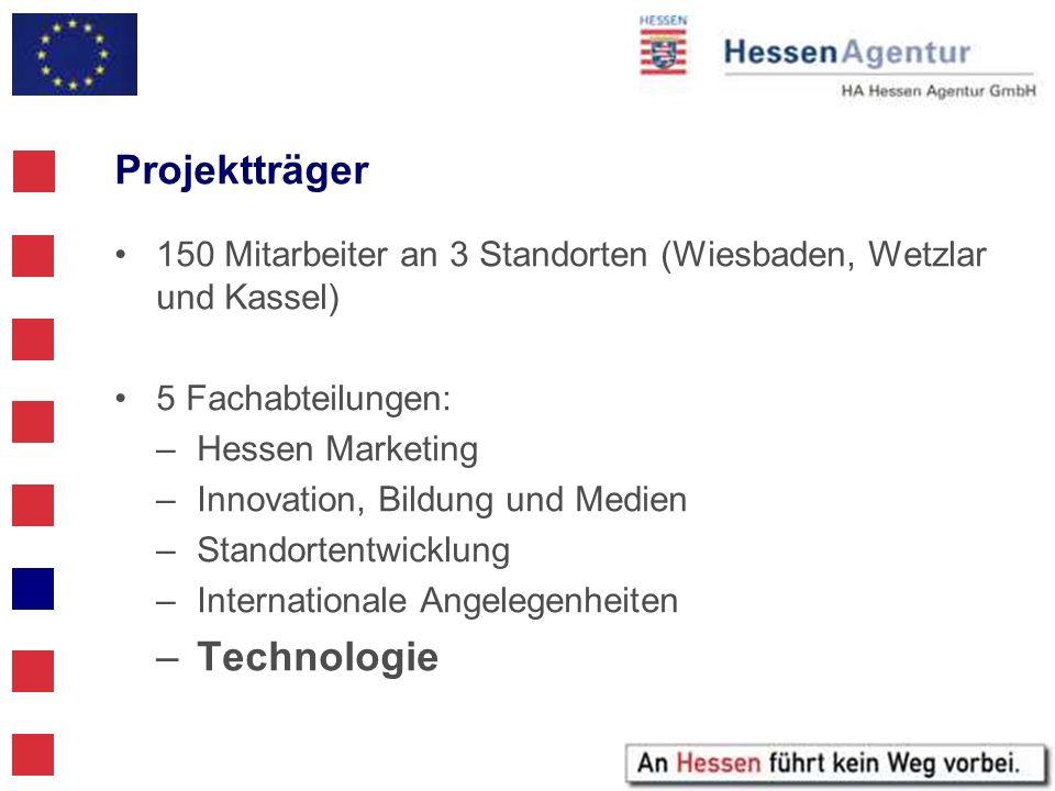 Projektträger 150 Mitarbeiter an 3 Standorten (Wiesbaden, Wetzlar und Kassel) 5 Fachabteilungen: –Hessen Marketing –Innovation, Bildung und Medien –St