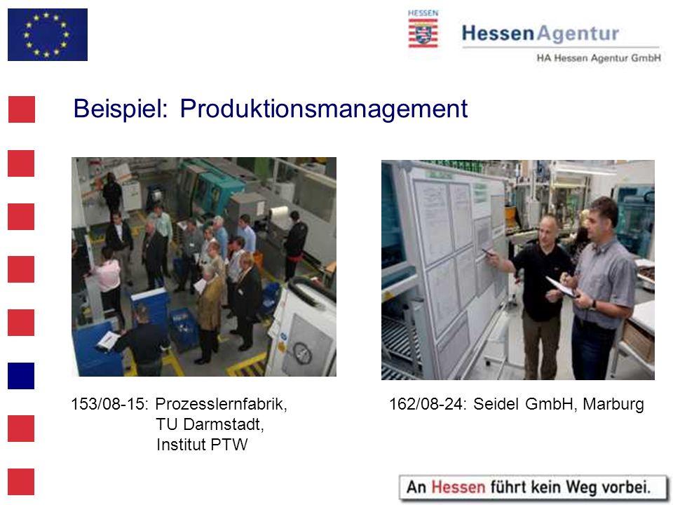 Beispiel: Produktionsmanagement 153/08-15: Prozesslernfabrik, TU Darmstadt, Institut PTW 162/08-24: Seidel GmbH, Marburg