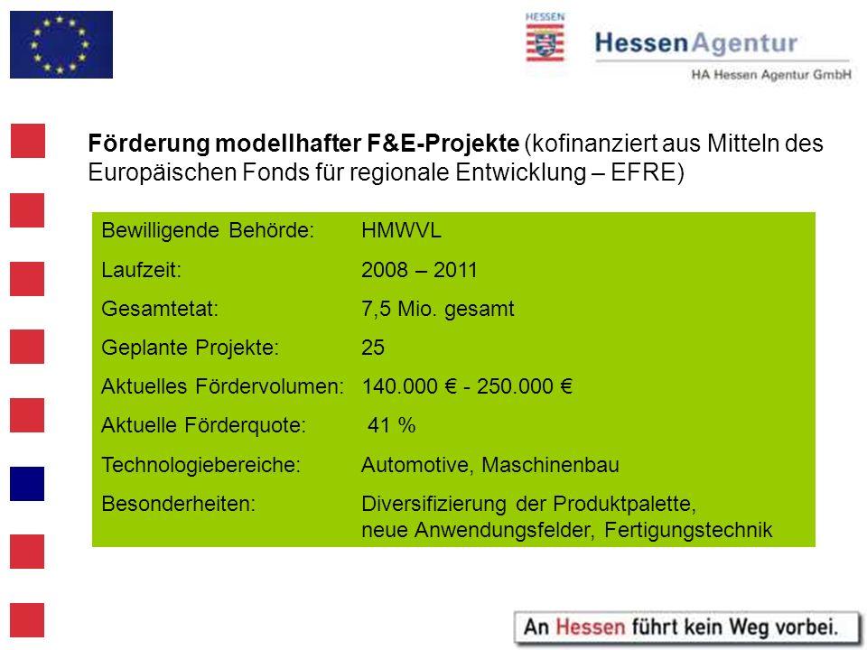 Förderung modellhafter F&E-Projekte (kofinanziert aus Mitteln des Europäischen Fonds für regionale Entwicklung – EFRE) Bewilligende Behörde:HMWVL Lauf