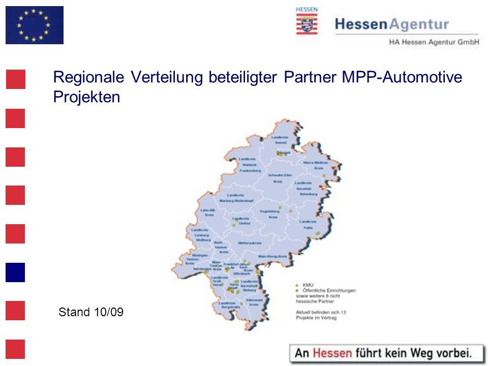 Regionale Verteilung beteiligter Partner MPP-Automotive Projekten Stand 10/09