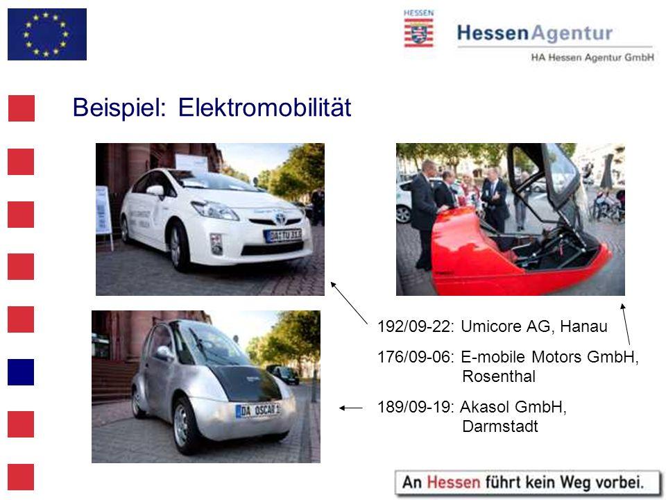 Beispiel: Elektromobilität 192/09-22: Umicore AG, Hanau 176/09-06: E-mobile Motors GmbH, Rosenthal 189/09-19: Akasol GmbH, Darmstadt