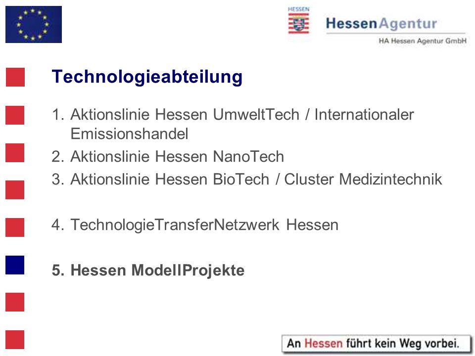 Technologieabteilung 1.Aktionslinie Hessen UmweltTech / Internationaler Emissionshandel 2.Aktionslinie Hessen NanoTech 3.Aktionslinie Hessen BioTech /
