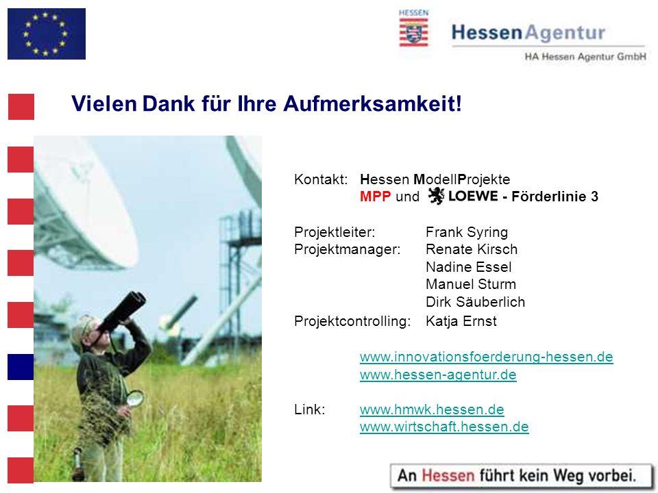 Kontakt: Hessen ModellProjekte MPP und - Förderlinie 3 Projektleiter:Frank Syring Projektmanager:Renate Kirsch Nadine Essel Manuel Sturm Dirk Säuberli