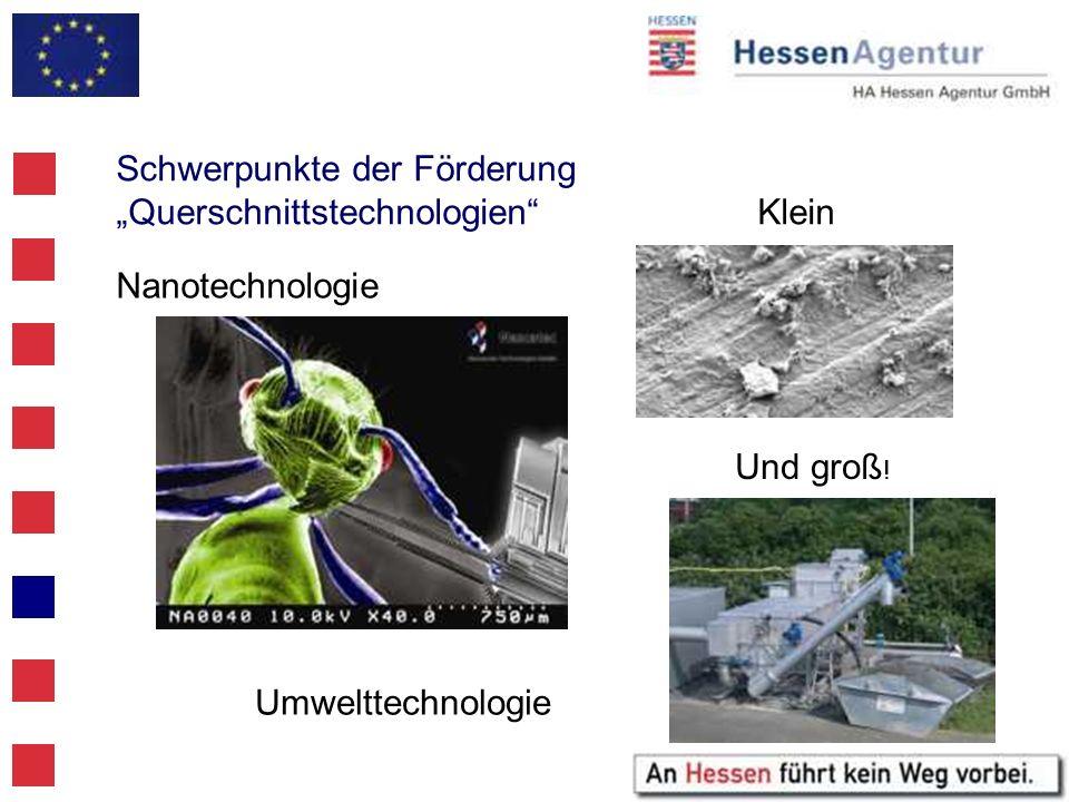 Schwerpunkte der Förderung QuerschnittstechnologienKlein Nanotechnologie Umwelttechnologie Und groß !