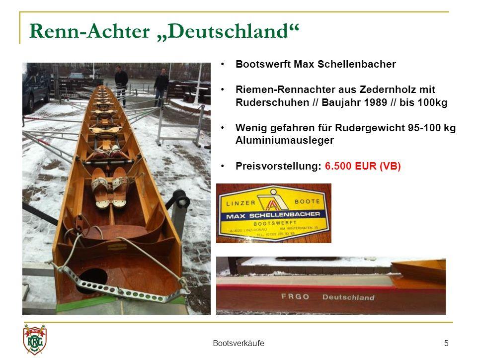 5 Renn-Achter Deutschland Bootswerft Max Schellenbacher Riemen-Rennachter aus Zedernholz mit Ruderschuhen // Baujahr 1989 // bis 100kg Wenig gefahren für Rudergewicht 95-100 kg Aluminiumausleger Preisvorstellung: 6.500 EUR (VB) Bootsverkäufe
