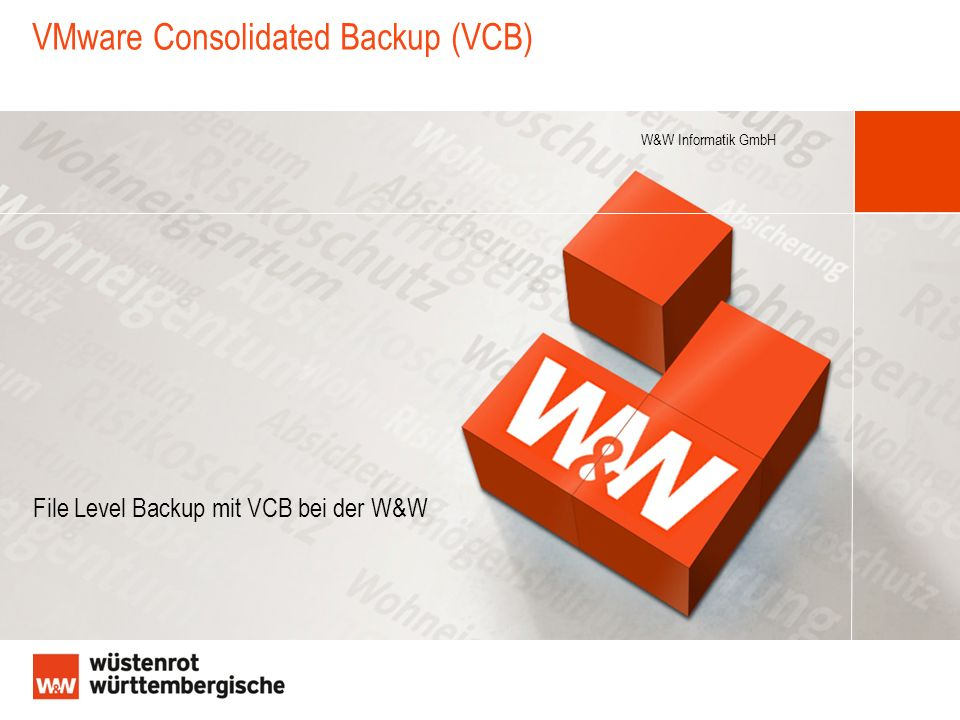 W&W Informatik GmbH VMware Consolidated Backup (VCB) File Level Backup mit VCB bei der W&W