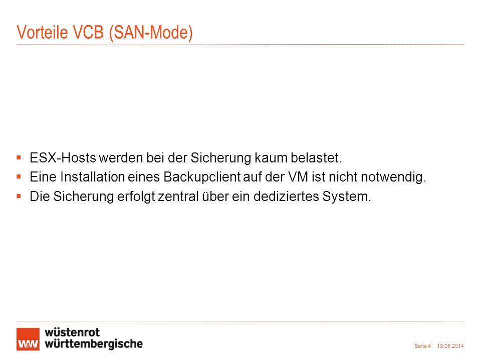 Vorteile VCB (SAN-Mode) ESX-Hosts werden bei der Sicherung kaum belastet. Eine Installation eines Backupclient auf der VM ist nicht notwendig. Die Sic