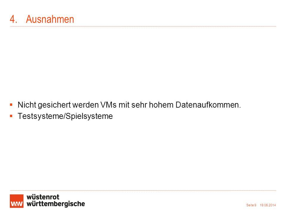 4.Ausnahmen Nicht gesichert werden VMs mit sehr hohem Datenaufkommen. Testsysteme/Spielsysteme Seite 9 19.05.2014