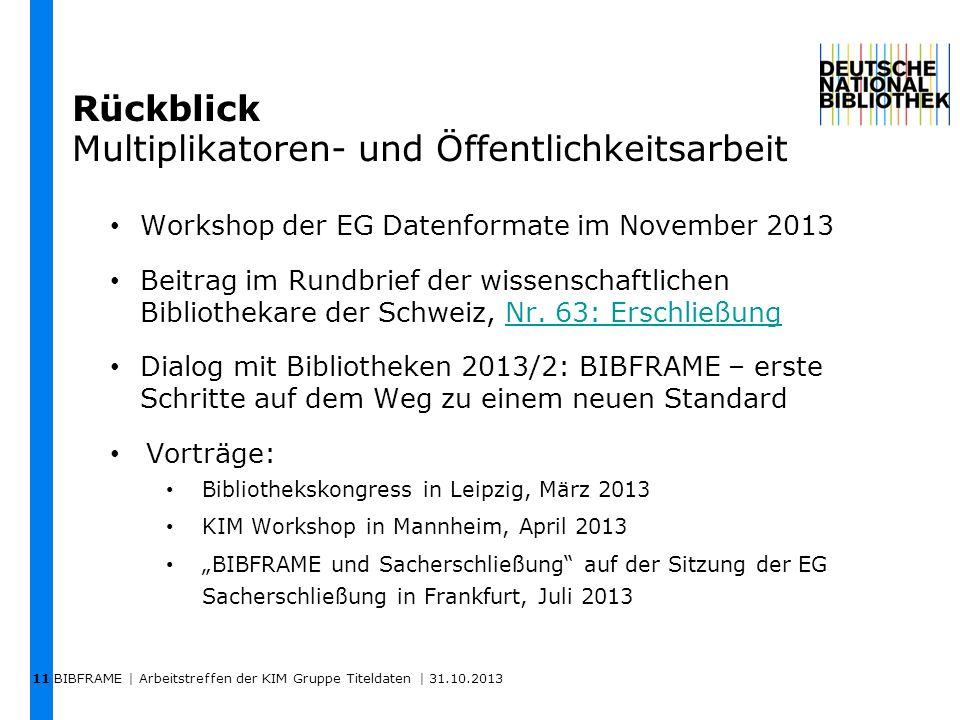 Rückblick Multiplikatoren- und Öffentlichkeitsarbeit BIBFRAME | Arbeitstreffen der KIM Gruppe Titeldaten | 31.10.2013 11 Workshop der EG Datenformate
