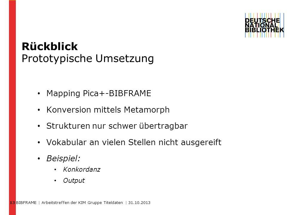 BIBFRAME | Arbeitstreffen der KIM Gruppe Titeldaten | 31.10.2013 13 Rückblick Prototypische Umsetzung Mapping Pica+-BIBFRAME Konversion mittels Metamo