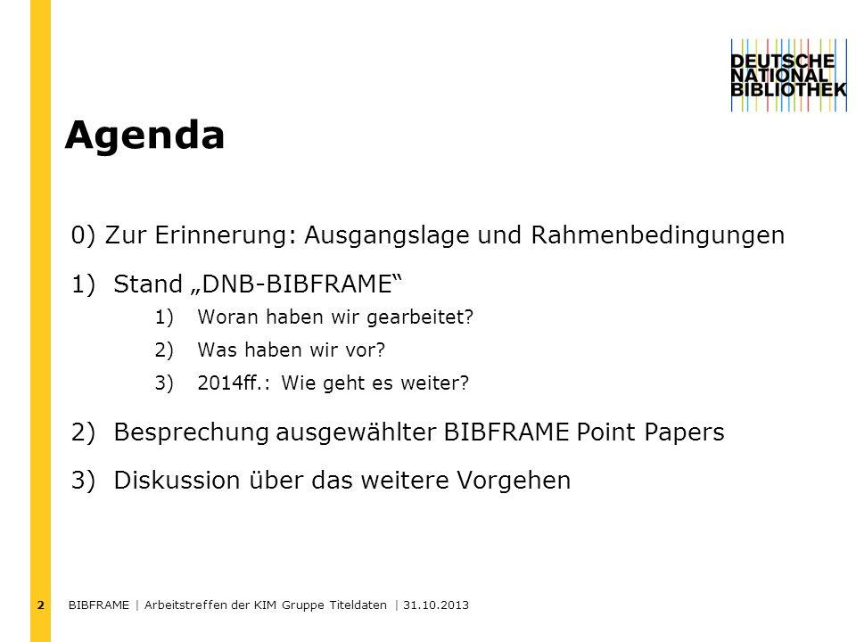 BIBFRAME | Arbeitstreffen der KIM Gruppe Titeldaten | 31.10.2013 3 BIBFRAME Initiative Transition Framework Bibliographic