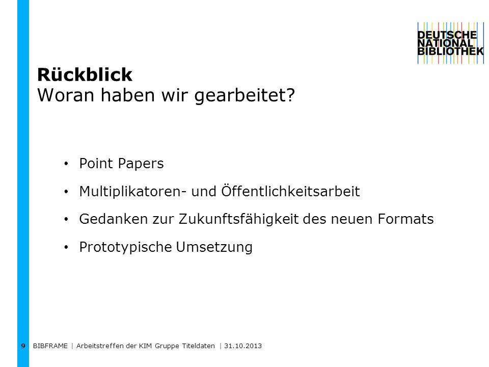 BIBFRAME | Arbeitstreffen der KIM Gruppe Titeldaten | 31.10.2013 9 Rückblick Woran haben wir gearbeitet? Point Papers Multiplikatoren- und Öffentlichk