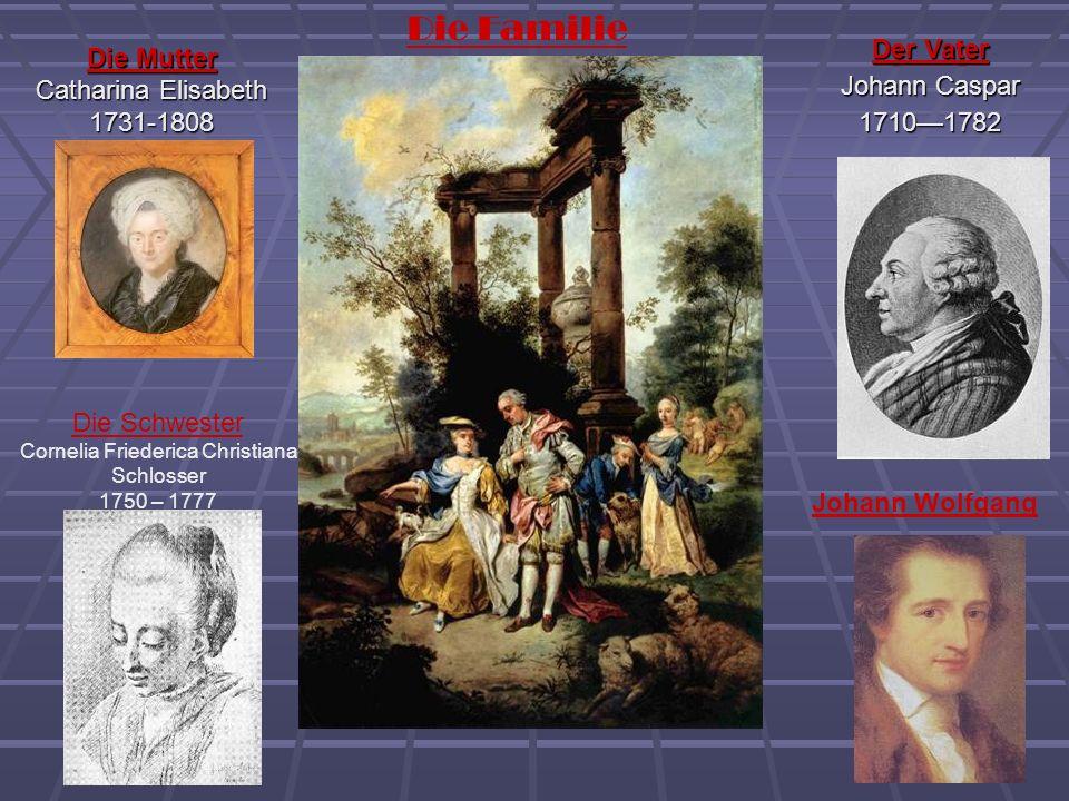 Die Mutter Catharina Elisabeth 1731-1808 Der Vater Johann Caspar 17101782 Die Schwester Cornelia Friederica Christiana Schlosser 1750 – 1777 Die Famil