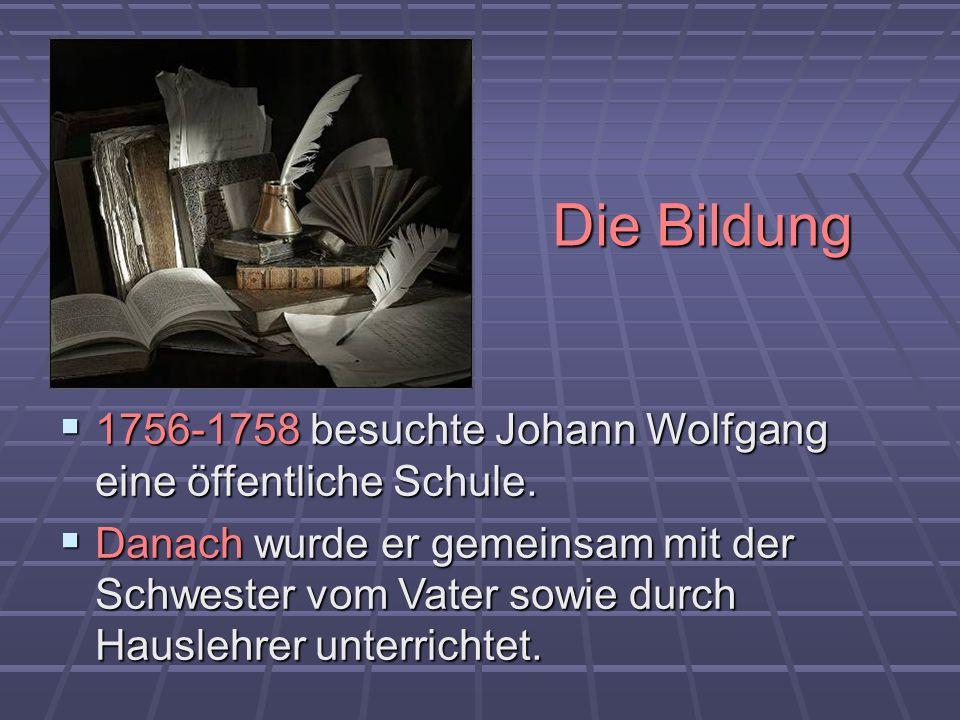 Die Bildung 1756-1758 besuchte Johann Wolfgang eine öffentliche Schule. 1756-1758 besuchte Johann Wolfgang eine öffentliche Schule. Danach wurde er ge