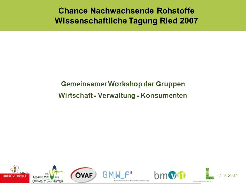 7. 9. 2007 Chance Nachwachsende Rohstoffe Wissenschaftliche Tagung Ried 2007 Gemeinsamer Workshop der Gruppen Wirtschaft - Verwaltung - Konsumenten