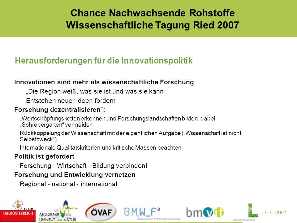 7. 9. 2007 Chance Nachwachsende Rohstoffe Wissenschaftliche Tagung Ried 2007 Herausforderungen für die Innovationspolitik Innovationen sind mehr als w