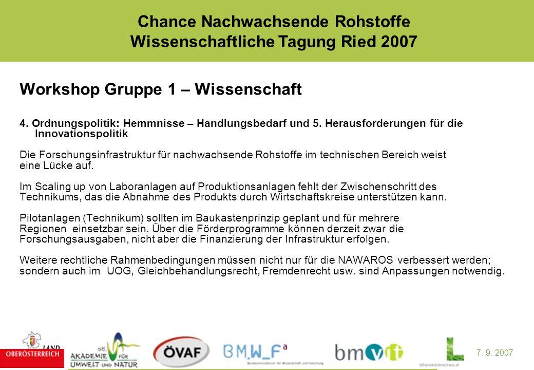 7. 9. 2007 Chance Nachwachsende Rohstoffe Wissenschaftliche Tagung Ried 2007 Workshop Gruppe 1 – Wissenschaft 4. Ordnungspolitik: Hemmnisse – Handlung