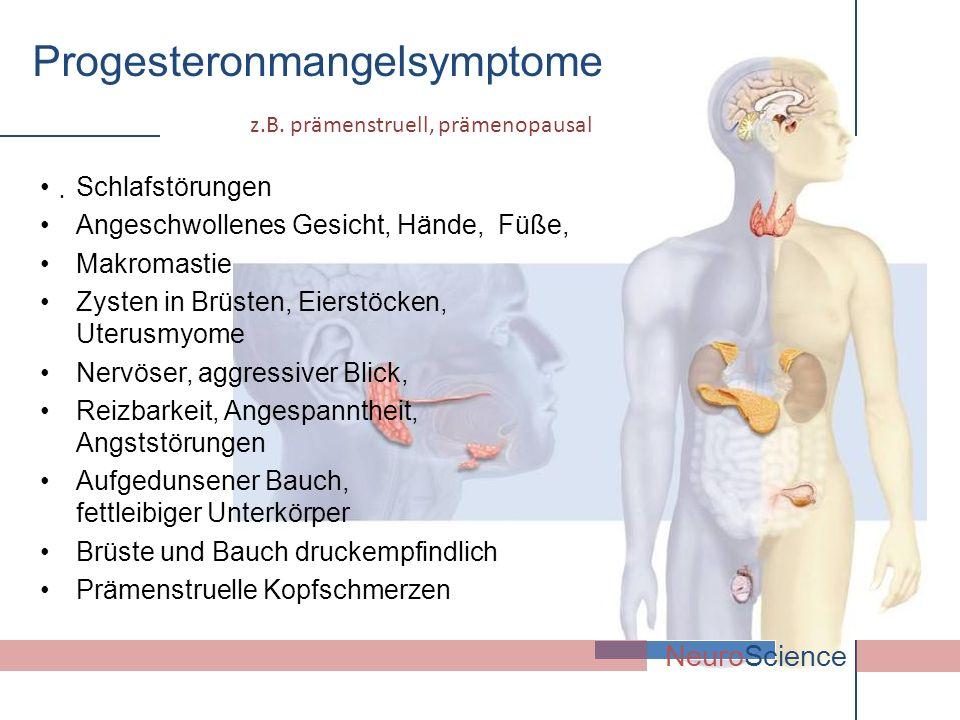 . NeuroScience Schlafstörungen Angeschwollenes Gesicht, Hände, Füße, Makromastie Zysten in Brüsten, Eierstöcken, Uterusmyome Nervöser, aggressiver Bli